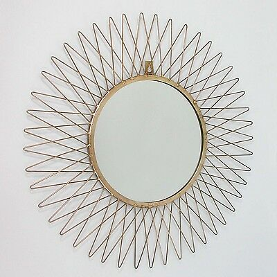 Vintage MID CENTURY French Sunburst Brass WALL MIRROR 1950s
