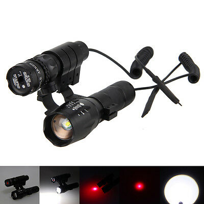 Tactical Red Dot Laser Sight Scope 20mm Mount Gun + Zoomable 5000Lm XML T6 Torch
