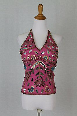 VTG 90's Aftershock Beaded Sequined Silk Pink Lace Up Halter Corset Bodice S M