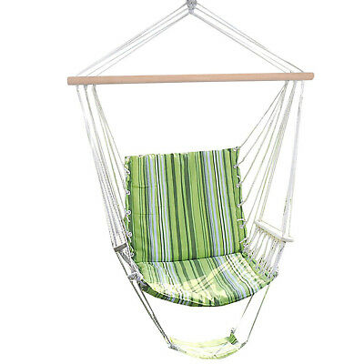 Garden Hammock Swing Hanging Chair Seat Padded Cushion Striped Cotton Outdoor