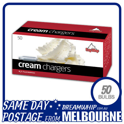 Same Day Postage Ezywhip Cream Chargers 50 Pack X 1 (50 Bulbs) Whipped N2O