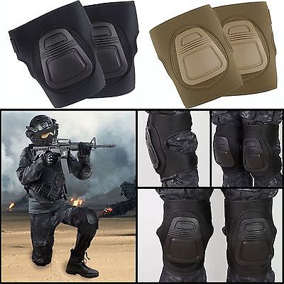 Outdoor Military Airsoft Tactical Combat Protective Set Gear Knee Pads Black/Tan