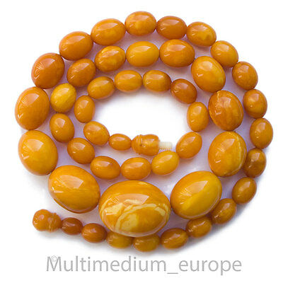 30s Butterscotch Natur Bernstein Hals kette Olive echt real amber necklace 36g