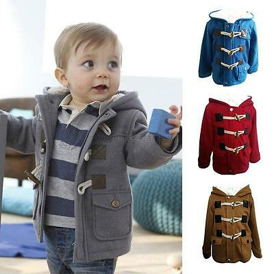 Baby Boys Winter Warm Horn Button Snowsuit Outerwear Toddler Hooded Jacket Coat