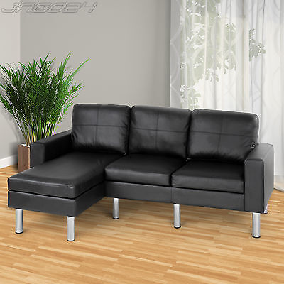 Faux Leather Sectional L Shape Corner Sofa Suite 3 Seater Living Room Furniture