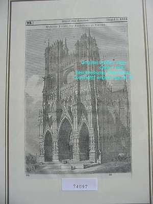 74097-Frankreich-France-Française-Amiens Cathedral-T Holzstich-Wood engraving