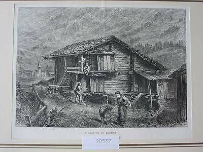 90537-Schweiz-Swiss-Switzerland-Zermatt-T Holzstich-Woodengraving