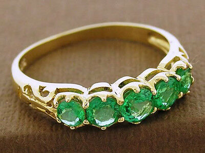 R142 Genuine 9ct Solid Gold Natural Emerald Anniversary Filigree Ring size N