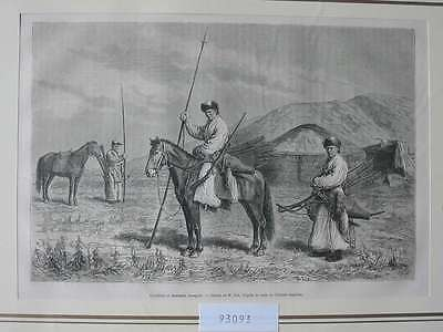 93093-Asien-Asia-Mongolei-Mongolia-Mongol Uls-Krieger-T Holzstich-Wood engraving