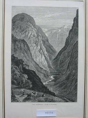 90596-Norwegen-Norway-Norge-Naerodal from Stalheim-T Holzstich-Wood engraving