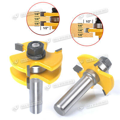 """Matched Tongue & Groove Router Bit Set Stock 1/4"""" Shank Wood Cutter Tool"""
