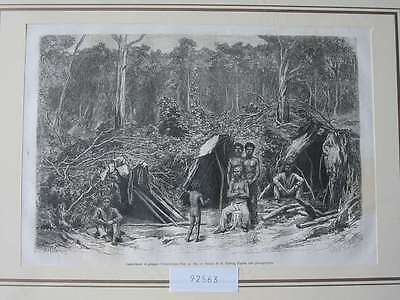 92563-Australien-Australia-Camp-Aborigines-T Holzstich-Wood engraving