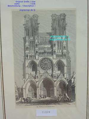 35399-Frankreich-France-Française-Laon Cathedral-T Holzstich-Wood engraving-1850