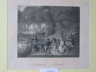 88981-Die Terrasse-The Terrace-nach Watteau-Stahlstich-steel engraving