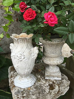 2 x Antique French Art Nouveau Garden cast Iron pots vases Medici urns original!