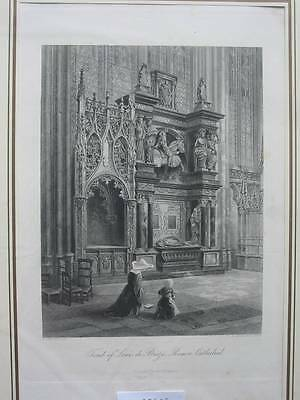 90568-Frankreich-France-Française-Rouen Cathedral-Stahlstich-Steel engraving
