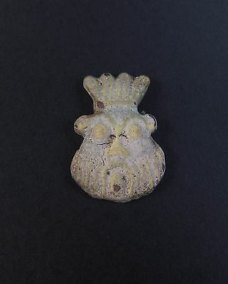 Superb ancient Egyptian faience face of Bes amulet