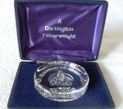 DARTINGTON PAPERWEIGHT Lead Crystal Commemorating Queen Mother 80th Birthday