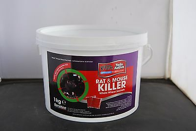 Barrettine Knockout 1KG Twin active Rat and Mouse Killer Whole Wheat Sachet