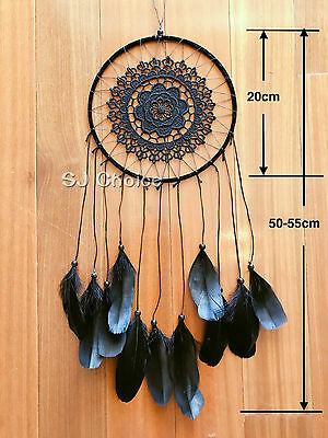 Large55cm Dream Catcher Feather Home Wall Hanging Room Decoration Ornament Black