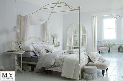 Tilly four poster metal powder coated Bed 4ft6 Double / 5ft King Size Ivory