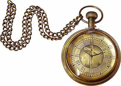 Vintage Antique Brass Jesus Logo Pocket Watch Collectible Gift & Nautical Clock