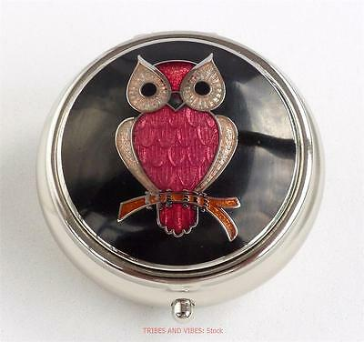 Owl on a Branch round Pill Box Sea Gems black red enamels Silver Plate