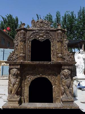 Beautiful Hand Carved Marble Coffee Lion Monumental  Mantel - Mfp78