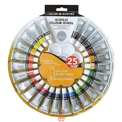 Daler Rowney Simply Acrylic Paint Wheel Set 24 x 12ml Tubes & Palette Pack