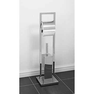 New Floor Standing Toilet Roll Holder And Brush Set
