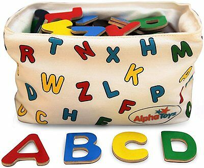 AlphaToys Magnetic Alphabet Wooden Letters - 78 ABC Refrigerator Magnets with Ha