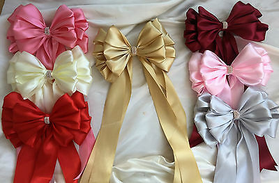 """Large 8"""" Satin Ribbon bow with tails jeweled centre Wedding bouquet, chair bows"""
