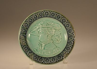 Majolica Art Nouveau Portrait of a Woman Plate, Unknown Maker