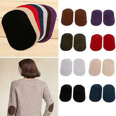 2X Suede Leather Iron-on Oval Elbow Knee Patches DIY Repair Sewing Applique DRE