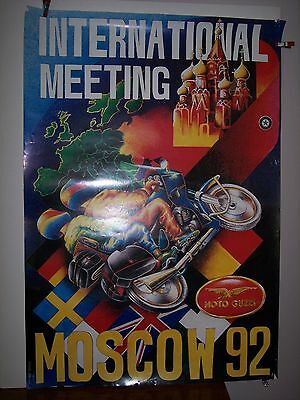 Rare 1992 MOTO GUZZI International Meeting-Moscow POSTER PRINT approx. 27x39