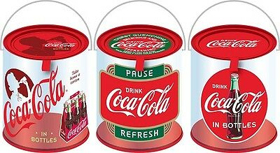 Coca Cola Coke 3Pc Retro Clear Paint Cans Canisters  New!