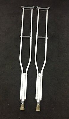 "ONE PAIR MEDLINE Aluminum Adjustable Crutches 5'10""-6'6"" 300lb Capacity"