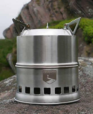 Outdoor Portable Wood Burning Camping Stove. Lightweight and Multi-Fuel Made