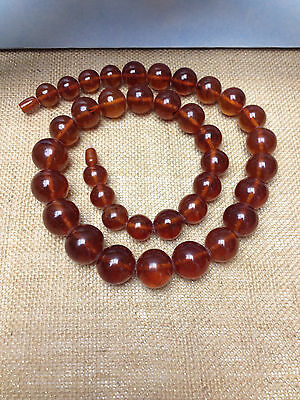 GENUINE ANTIQUE NATURAL BALTIC AMBER CHERRY ROUND BEAD STONES NECKLACE 129g RARE