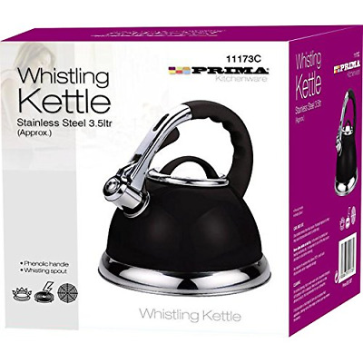 Prima Purple Cordless 3.5L Stainless Steel Whistling Kettle With EasyGrip Handle