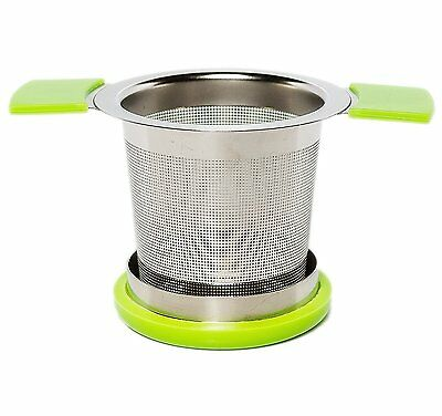 Premium Tea Infuser Brew-In-Mug Stainless Steel w/ Long Handles (Green)