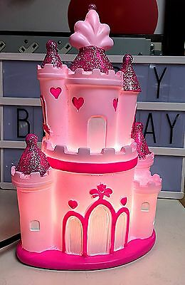 New Pink Princess Castle Led Table Lamp Glitter Girls Bedroom Bedside Light Gift