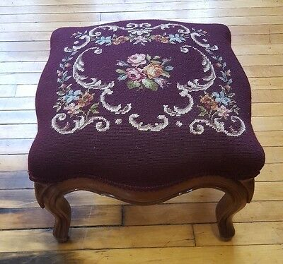 Victorian Antique Vintage Floral Needlepoint Foot Stool Carved Wood Ottoman