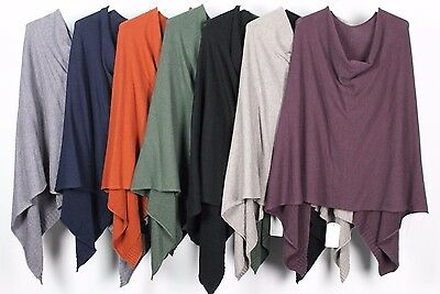 New Ladies Quirky Lagenlook Italian Angora Wool Mix Knitted Draped Poncho Cape