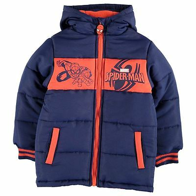 Boys Character Padded Jacket Coat Spiderman New With Tags
