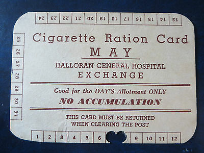 Ww2 Usa Hospital Stay Wounded Vet Cigarette Ration Card