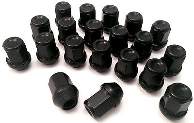 20 x 19mm Hex, M12 x 1.5 wheel nuts lugs bolts in Black for Ford Focus