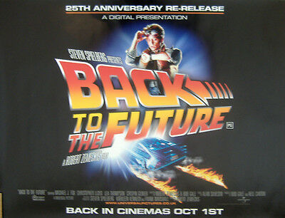 BACK TO THE FUTURE 25th ANNIVERSARY ORIGINAL D/S UK QUAD CINEMA POSTER