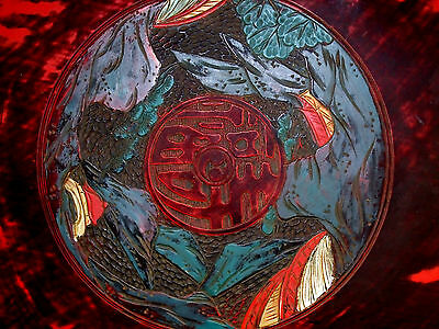 Vintage Etched or Carved Dragon Round Chinese Table Top 00101010