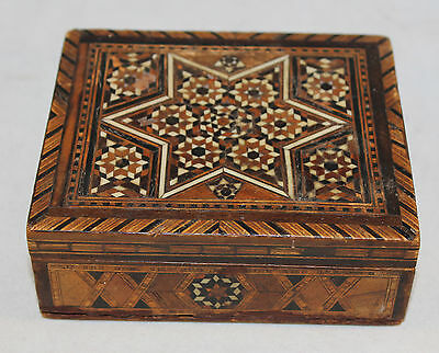 "Antique Tunbridge Ware Mini Mosiac Card Box  4.75"" x 4"" x 1.75"""
